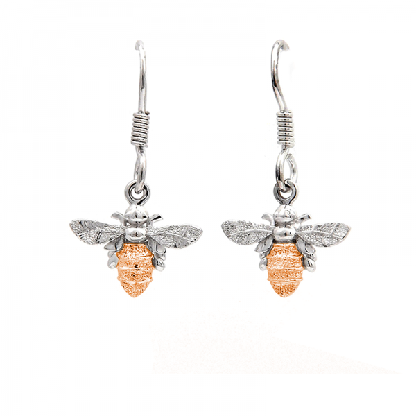 Bee drop earrings in rose gold and silver