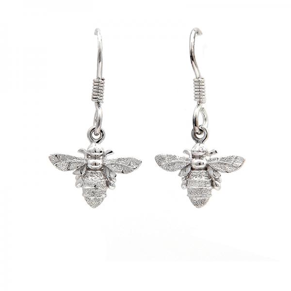 Bee drop earrings in silver