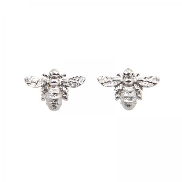 Bee stud earrings in silver