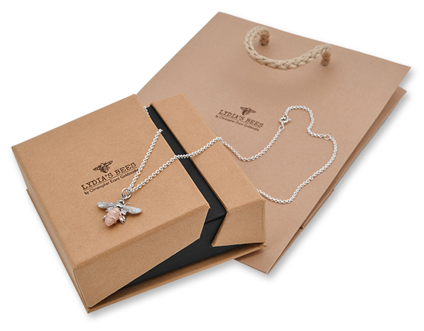 Beautiful branded packaging for Lydia's Bees jewellery including natural box and bag