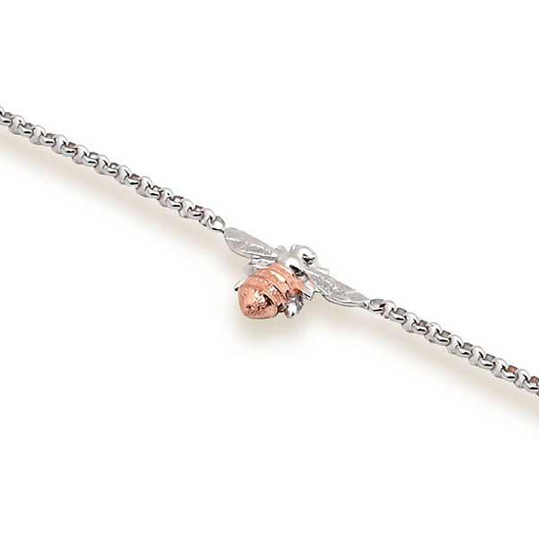 Single bee bracelet in rose gold