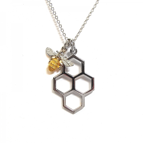 Honeycomb and mini bee pendant in silver and gold