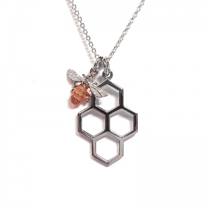 Honeycomb and mini bee pendant in silver and rose gold