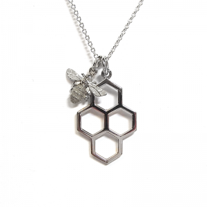 Honeycomb and mini bee pendant in silver