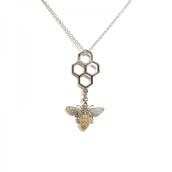 Honeycomb and bee pendant in silver and gold