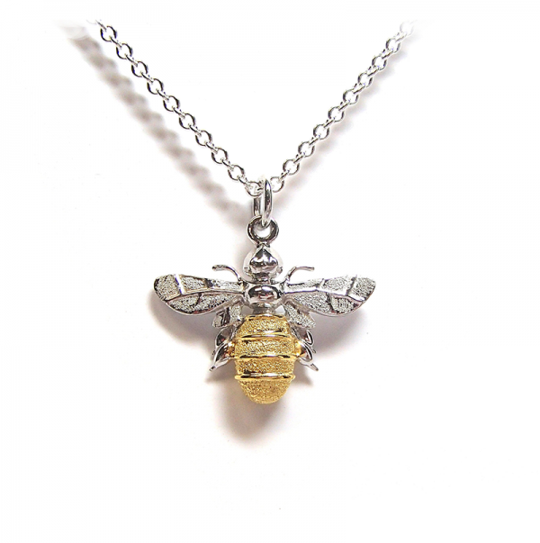 Large bee pendant in gold and silver