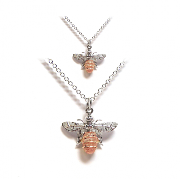 Bee pendant in rose gold and silver