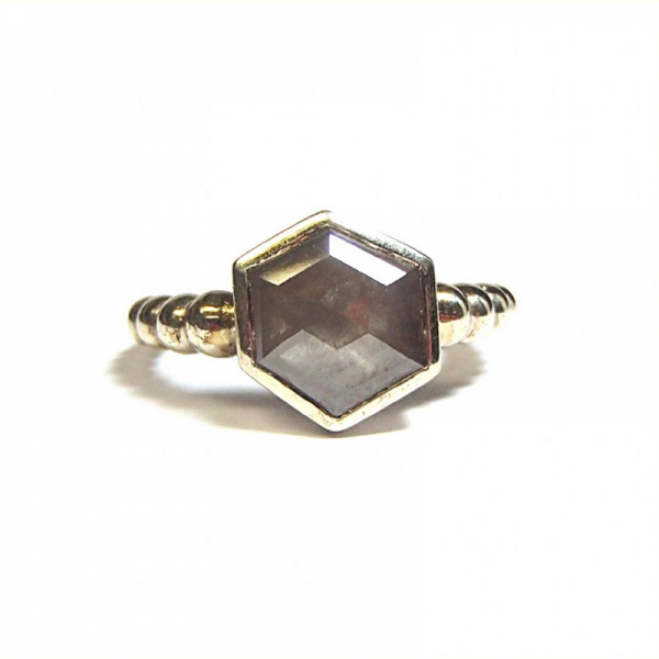 Grey rose cut diamond ring from the Lydia's Bees collection