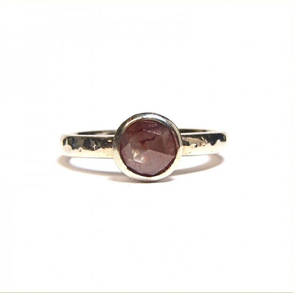 Smokey pink rose cut diamond ring from the Lydia's Bees collection