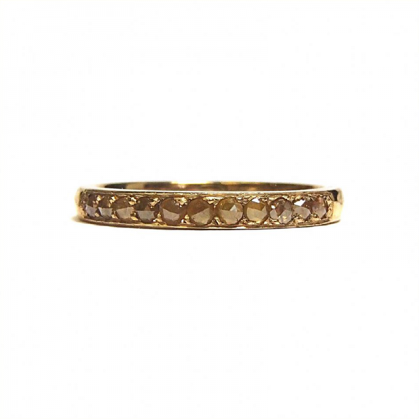 Honey coloured rose cut diamond eternity ring from the Lydia's Bees collection