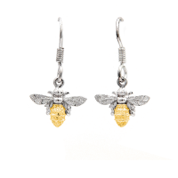 Bee drop earrings in gold and silver