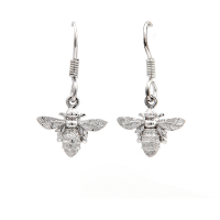 Bee drop earrings in silver