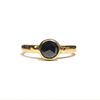 Yellow gold ring with rose cut black diamond