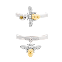 Bee rings in gold and silver with yellow sapphire