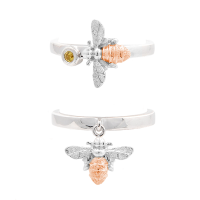 Bee rings in rose gold and silver with yellow sapphire