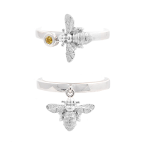 Bee rings in silver with yellow sapphire